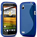 ONX3 HTC Desire X Blue S Line Wave Gel Case Skin Cover + LCD Screen Protector Guard