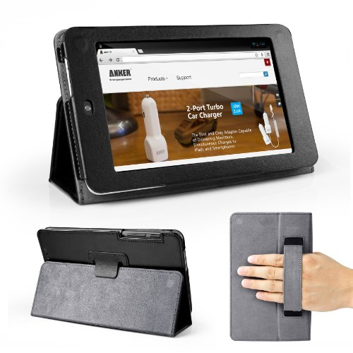 Anker Memo Pad HD 7 Case - Synthetic Leather Slip-In Case for ASUS MeMO Pad HD 7 ME173X 7-Inch Tablet Smart Cover Folio Case - Black