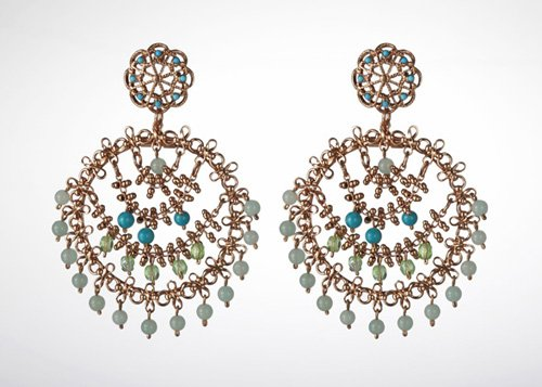 24K Rose Gold Plated Round Shaped Earrings from 'Fresh Sensation' Collection Beautifully Created by Amaro Jewelry Studio Adorned with Variscite, Chrysocolla, Green Aventurine and Swarovski Crystals; Handmade in Israel