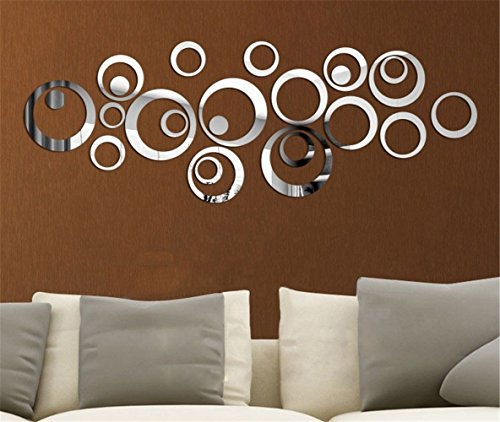 ColorfulHall Mirror Silver Creative Rounds Circle Round Dot Wall Clock Mirror Wall Clock Fashion Modern Design Removable DIY Acrylic 3d Mirror Wall Decal Wall Sticker Decoration