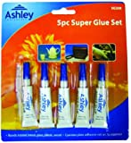 Ashley Super-glu colle tout en quelques secondes 5 tubes de 3 g Lot de 5