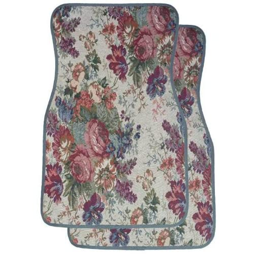 Amazon.com: GRAY FLORAL TAPESTRY CAR MATS - SET OF 2