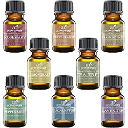 Art Naturals Top 8 Essential Oils - 100% Pure Of The Highest Quality Essential Oils - Peppermint, Tee Tree, Rosemary, Orange, Lemongrass, Lavender, Eucalyptus, & Frankincense - Therapeutic Grade, Great For Massage, Aromatherapy, Healing, Revitalizing, SPA Treatments, Focus, Meditation and Much More