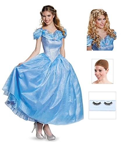Cinderella Movie Prestige Adult Costume with Eyelashes, Wig and Wig Cap