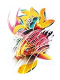 Waterproof And Non Toxic Halloween Tattoo Red Fish With Yellow Flower Fake Temp Tattoo Sticker