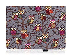 iPad Air 2 Case by Thankscase,Slim Lightweight Smart Grey Owls Canvas Case Cover for iPad Air 2 2014 with Smart Cover Feature with Ultra-soft Interior Built-in Elastic Hand Strap for iPad Air 2. (Grey Owls).