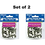 Set of 2 BAZIC Nickel Thumb Tack, Silver, 200 Per Pack