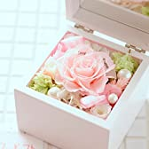 プリザーブドフラワー 高級オルゴールBOX ※ピンク(花びらメッセージ)【電報・祝電付きのお花】 <誕生日プレゼントに 結婚記念日のお祝い花 出産祝いの贈り物に プロポーズに> 【全国送料無料・お届け日指定OK】