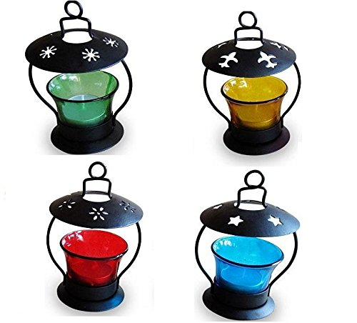 A-To-Z-TradersPack-of-4-Decorative-Hanging-Tealight-Candle-Holder-Home-Decor-Diwali-Gift-Decoration-for-your-Home-Temple-and-1-Free-Hand-Shape-LED-Keychain