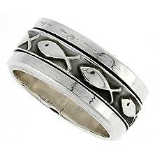 buy Sterling Silver Men'S Spinner Ring Ichthus Christian Fish Design Handmade 5/16 Wide, Size 13