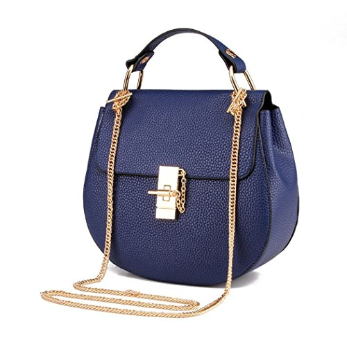 An'Dee Women's Fashionable Lovely Elegance Leather Metal Buckle Bags(Navy)