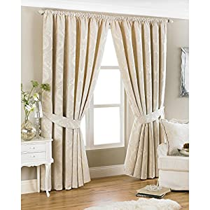 New Luxury Damask Curtains - Pencil Pleat Natural Cream ...