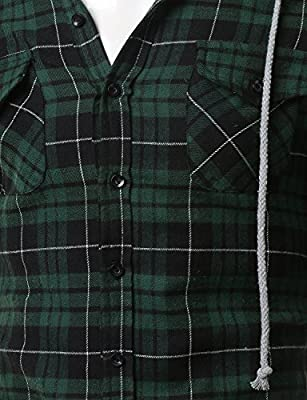Doublju Men's Long Sleeve Casual Hood Zip-up Inner Color Blocked Check Shirt