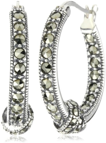 Judith Jack Sterling Silver Marcasite Pave Knot Hoop Earrings