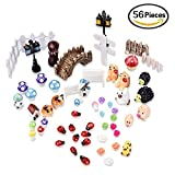 eBoot 56 Pieces Miniature Ornament for DIY Fairy Garden Dollhouse Decor