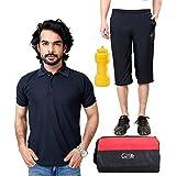 Elligator Stylish Capri, T-Shirt, Gym Bag And Sipper Combo - B00W7FH3XI