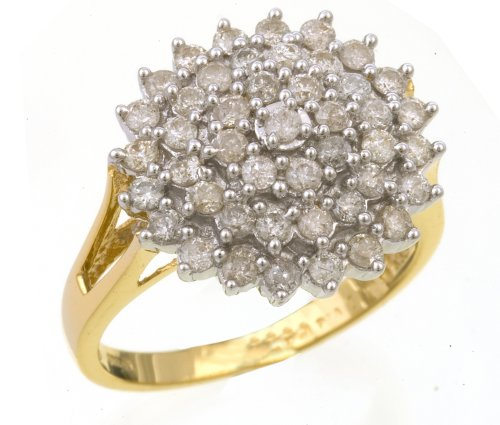 18ct Yellow Gold Ladies' Diamond Ring Size H