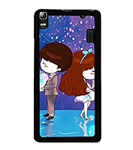 Fuson Premium 2D Back Case Cover Cute couple With Pink Background Degined For Lenovo A7000