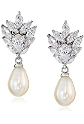 Platinum-Plated Sterling Silver Cubic Zirconia Freshwater Cultured Pearl with Black and White Dangle Earrings