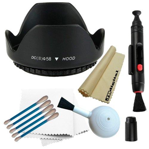 Professional 58Mm Tulip Flower Lens Hood For Canon Ef 75-300Mm F/4.0-5.6 Usm & Iii Usm Lenses, Canon Ef-S 55-250Mm Is Lens + Lens Cleaning Pen System + Deluxe Cleaning Kit + Bonus Jb Microfiber Cleaning Cloth