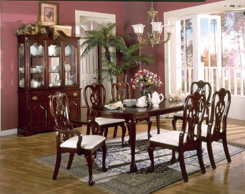 interior home and design cherry wood dining room breakfront table
