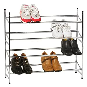 Premier Housewares 4 Tier Extendable Shoe Rack - 72 x 113 x 23 cm - Chrome
