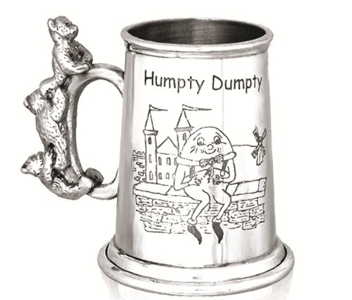 Personalised Engraved Baby Gift - A Stunning Pewter Christening Tankard - 'Humpty Dumpty' Design featuring a Cute Teddy Handle - Ideal Christening Gift