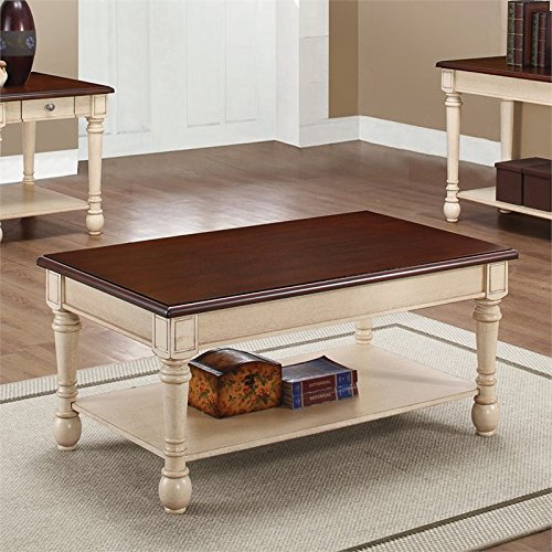 Coaster Home Furnishings 704418 Coffee Table, NULL, Dark Cherry/Antique White (Brown Coffee Table Set compare prices)