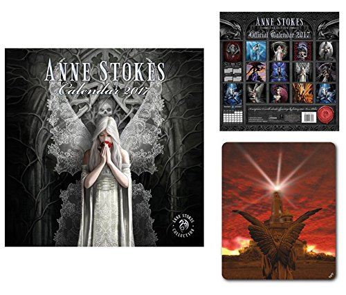 Set: Gothic, Anne Stokes, Calendario Ufficiale 2017 (30x30 cm) E 1x Tappetino Per Mouse (23x19 cm)