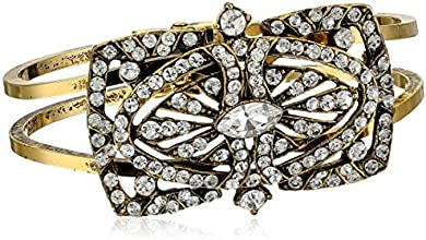 "Yochi Crystal Art Deco Open Cuff Bracelet, 1.75"""
