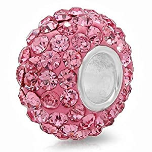 .925 Solid Sterling Silver Bead Pink Crystal Super