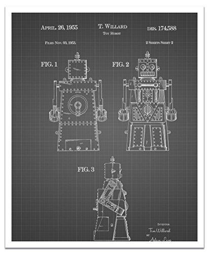 JP London POSJSG08 Jetsons Rosie Robot Peel and Stick Vintage Black Grid Poster Patent Art, Black/White Gridlines, 24