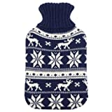 Large Hot Water Bottle With Removable Knitted Navy Reindeer Snow Design Cover
