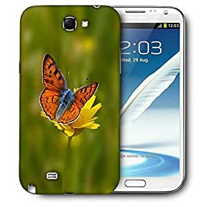Snoogg Orange Butterfly In Yellow Flower Printed Protective Phone Back Case Cover For Samsung Galaxy Note 2 / Note II