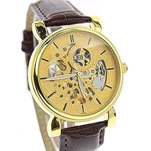 itemstoday Classic Skeleton Mechanical Automatic Self Wind Men's Analog Leather Wrist Watch