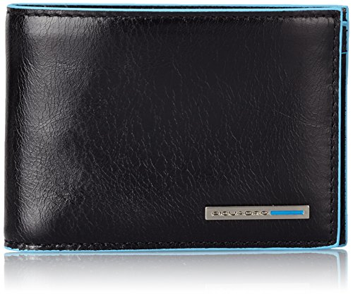 Piquadro PU3242B2/N Blue Square Portafoglio, Nero, 10 cm