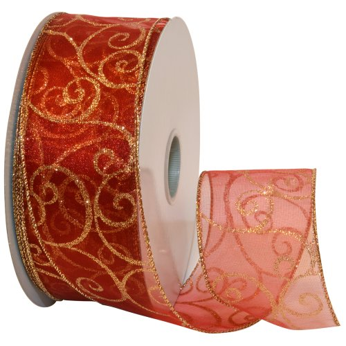 Glitter Swirl Wire Edged Ribbon