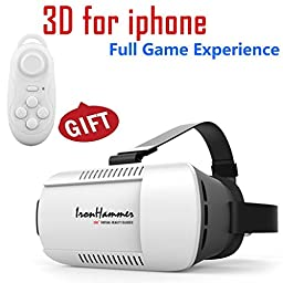 VR Virtual Reality Glasses Headset for Google iPhone Samsung Note LG Huawei HTC with remote Controller