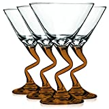 Libbey Orange Z Shaped Stem Martini Glasses with Colored Accent - 9 oz. Set of 4- Additional Vibrant Colors Available by TableTop King