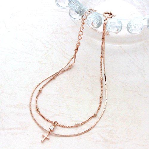 Jewelry Shop M cross & Swarovski double anklet pink (a9137-PG)