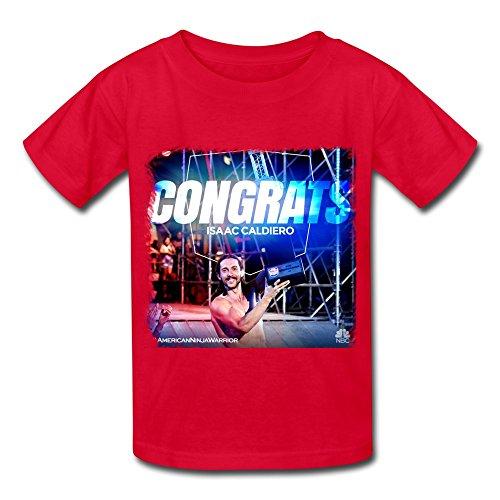 sanyou-kids-retro-american-ninja-warrior-champion-isaac-caldiero-t-shirts-size-s-red
