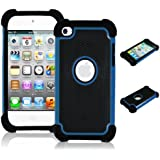 Bastex Heavy Duty Hybrid Dual Armor Case for Apple Ipod Touch 4, 4th Generation - Blue & Black