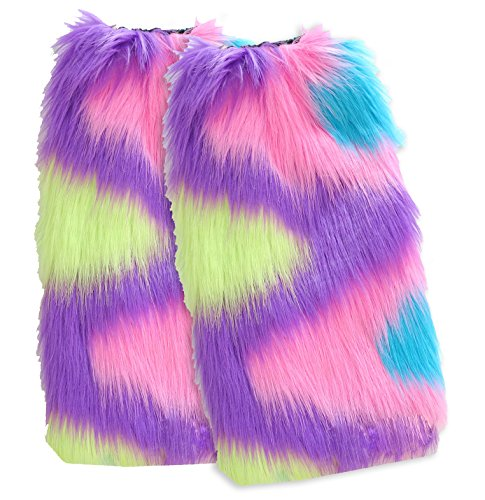 [Faux Fur furry fluffy super fuzzy for dance or boots socks leg warmer women rave and EDC costume by Secret Life (Color Wave] (Furry Rave Boots)