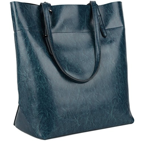 Yaluxe Donna Casual Stile morbido ceraartig vera pelle elegante Borse a tracolla Borsetta blu