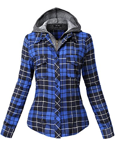 Undetachable Two Tone Terry Mixed Hoodie Plaid Shirts,137-royal_black,Small