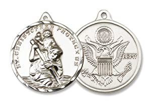"St. Christopher Sterling Silver Medal with 24"" Stainless Chain Patron Saint Military Armed Forces Us Army. Catholic Saint Christopher Patron Saint of Bookbinders, Epilepsy, Gardeners, Mariners, Pestilence, Thunder-storms, Travelers, Travel, Motorists, Truck Drivers, Bus Drivers, Archers, Automobile Drivers, Bachelors, Cab Drivers, Epileptics, Floods, Fruit Dealers, Gardeners, Hailstorms, Holy Death, Lightning, Mariners, Market Carriers, Pestilence, Sudden Death, Taxi Drivers, Toothache, Transportation Workers."