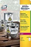 Avery Zweckform L4775-20 Wetterfeste Folien-Etiketten, 210 x 297 mm, wetterfest, 20 Blatt/20 Etiketten, weiß