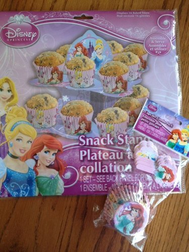 Disney Princess Party Supplies Set - Cupcake/Snack Stand + 18 Disney Princess Cupcake Liners W/Bonus Picks! Featuring Cinderella, Ariel & Rapunzel! - 1