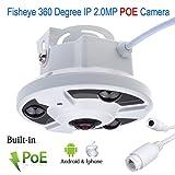 Vanxse Cctv 1080P POE 2.0MP 360 degree Panoramic CCTV Security IP Network FishEye CAMERA