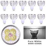 Lot of 10 PCS 12V 4W MR16 LED Bulbs - 6000K Daylight LED Spotlights - 50Watt Equivalent - 330 Lumen 60 Degree Beam Angle for Landscape, Recessed, Track lighting